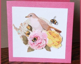 card with bird and roses