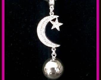 Bola pregnancy 925 silver ball and Crescent Moon rhinestone pendant