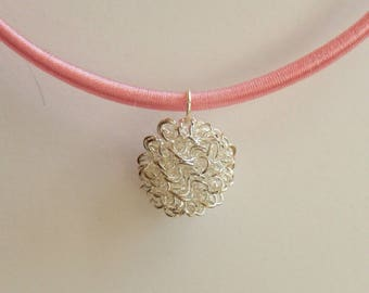 Gift necklace Choker fitted pink eco-friendly cotton and his son Pearl silver