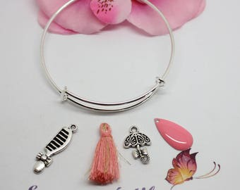Kit Bracelet Bangle silver adjustable theme girl-pink jewelry Creations.