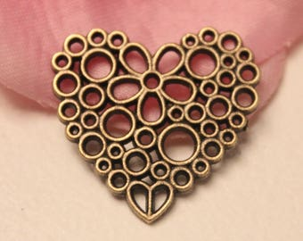 x 10 connector Charm heart flower Ajoure 23x25mm