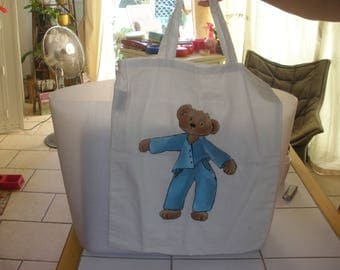 100% cotton tote bag, handpainted, Teddy bear in blue Pajamas pattern