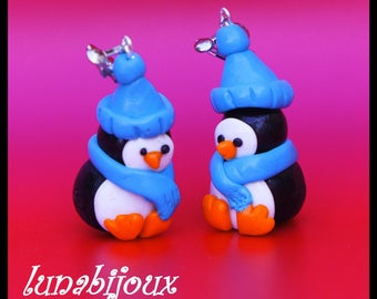 polymer clay earring Penguin Christmas jewelry gift
