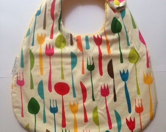 "Large baby bib ""Forks"" fabric"