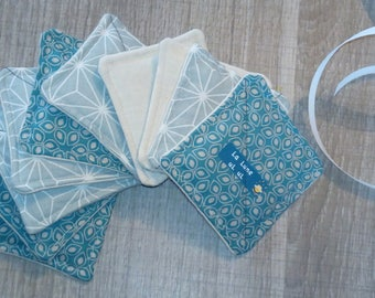 Set of 10 washable cleansing squares made from organic cotton flannel.