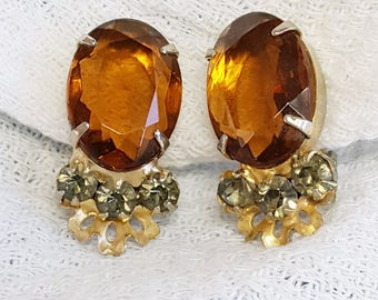 Glowing Honey Topaz Rhinestone Earrings Clip On Prong Set