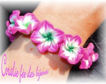 the islands of pink and green or purple flower bracelet