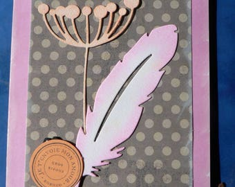 flowers and feather card