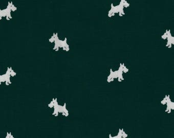 Forest green 50 x 110 dogs cotton fabric coupon