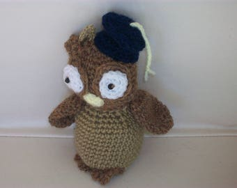 Little OWL graduate made hand crochet hat with a clip