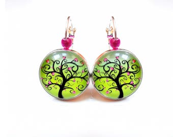 Silver earrings green ● ● hearts tree