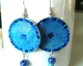 Earrings blue cornflower blue beaded earrings/glitterati