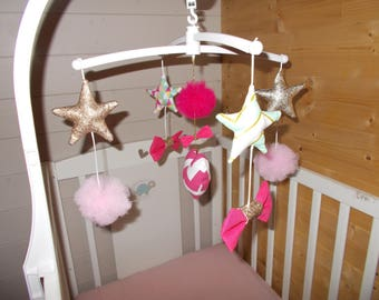 Mobile baby musicalcoeur, knots, stars, and tassels. To order *.