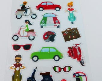 14 stickers Italy vespa scooter car Fiat 500 red, green and white sunglasses