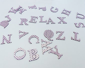 26 alphabet letters cardboard chipboard pink and purple with polka dots