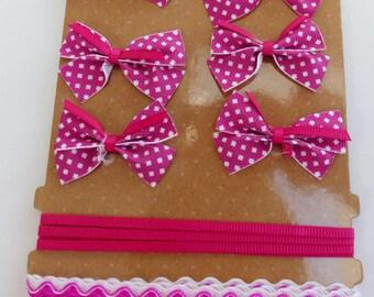 set of 6 satin ribbon 1 and 1 wavy Ribbon bows with white dots hot pink