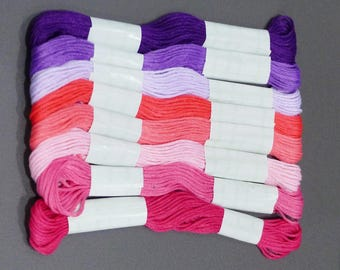 8 skeins yarn embroidery in red, pink and purple tones
