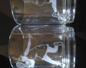 Set of 2 mugs of 25 cl free personalization. Tennis player couple engraving