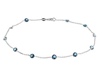 14k White Gold Handmade Station Anklet With London Blue Topaz Gemstones By the Yard 9 - 11 Inches