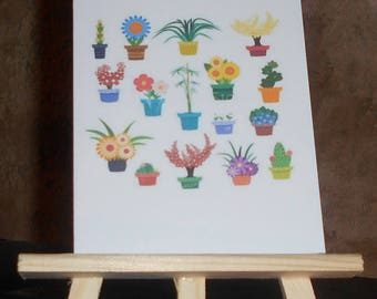 Card printed flower pots