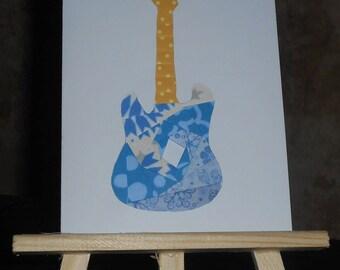 Blue guitar in iris folding card
