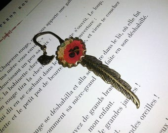 Fantasy - 'red poppy' bronze feather bookmark