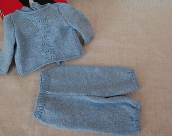 Sweater and pants (0-3 months) blue color