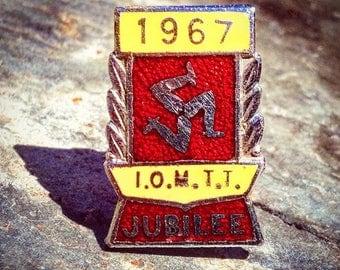 Original Vintage 1967 Diamond Jubilee Year Isle of Man TT Enamel Badge. I.O.M.T.T