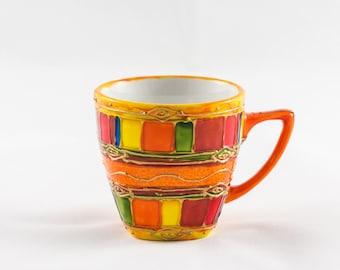 Orange hand painted 10 cl porcelain coffee mug
