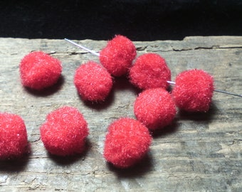 ☆PORTS OFFERTS☆ 10 tassels/10 mm / wool / rouge☆
