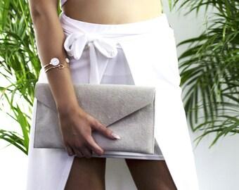 Beige Suede Clutch Bag