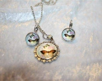 pendant necklace and earrings Butterfly