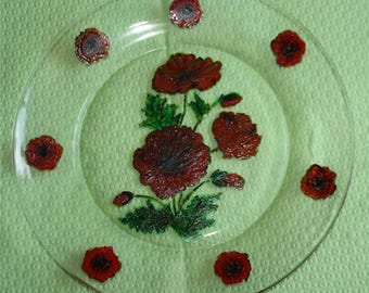 plate glass poppies pattern