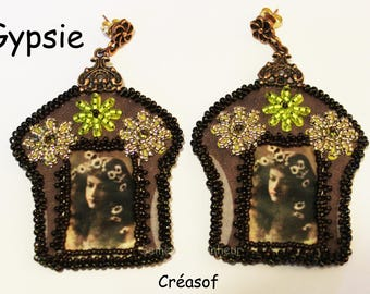 "Spirit ""retro"" fabric ""Gypsy"" beaded earrings"