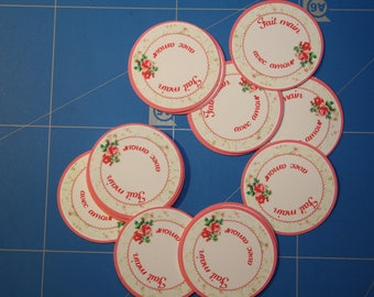 "Labels round stickers flowers ""Hand made with love"" or personalized"