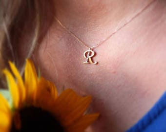 Gold Letter Necklace, Personalized Necklace, Available in 14k Gold, White Gold or Rose Gold