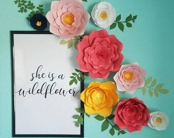 Julianne Set: Large Customizable Paper Flower Arrangement (14 flower set) Perfect for a party, event or decor. Can Match BEDDING COLORS