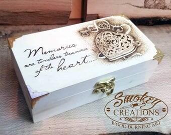 Small memory box Pyrography