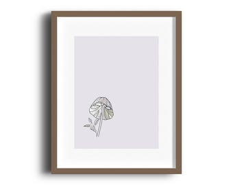 mushroom print, wall art, floral wall art, flowers, leaf, pink, green, line art, minimal, modern