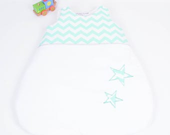 Sleeping bag sleeping bag 0-6 months handmade white and Mint green chevron @lacouturebytitia stars