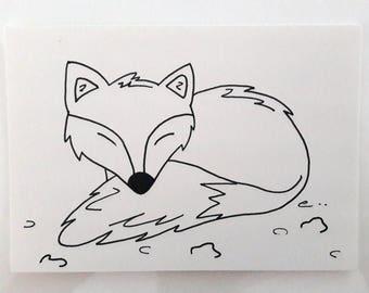 """Black and white Fox"" card"