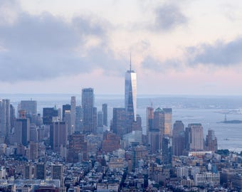 New York City in the Evening Light, Financial District of Manhattan Island of New York City, View of the Freedom Tower or One World Trade