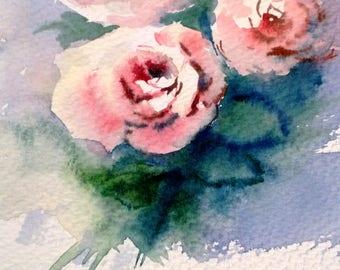 sweetheart roses in Sunlight A4, watercolour, Contemporary art  littlecl@mail.ru