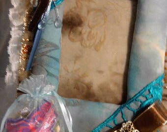 Homemade fabric covered picture frame with free potpourri sachet and FREE SHIPPING