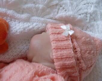 BEANIE baby wool, hand knitting, melon (Pink), birth, @100 dreams-sweetness