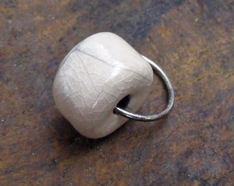 Earring Pearl raku ecru silver hoop earring ceramic silver thick roll