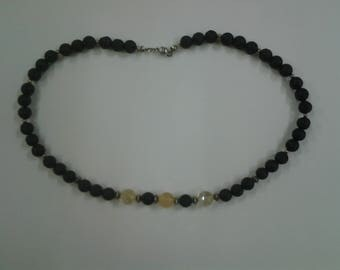 Citrine and Lava Rock necklace