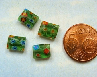 Set of 4 beads green millefiori square way no. 6