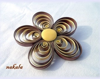 unique paper flower brooch jewelry Polish