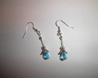 00156 - Blue flowers and earrings silver